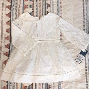 NWT Oshkosh white long sleeve eyelet dress